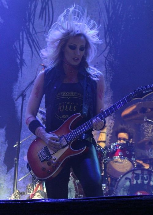 Nita Strauss onstage at the Nova Rock Festival in June 2016