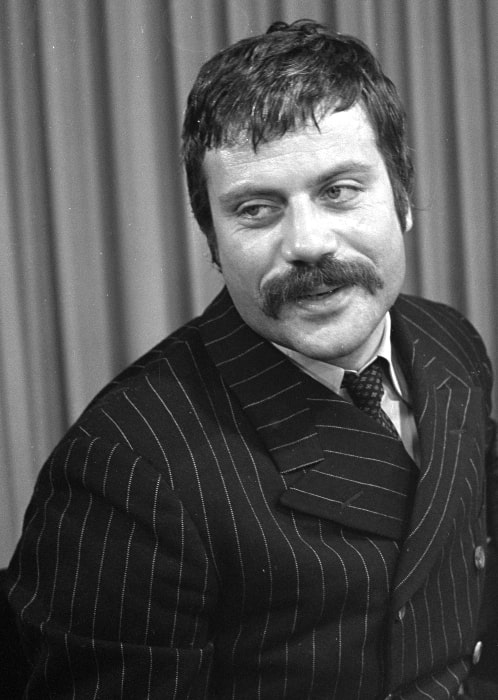 Oliver Reed as seen in a black-and-white picture in 1968