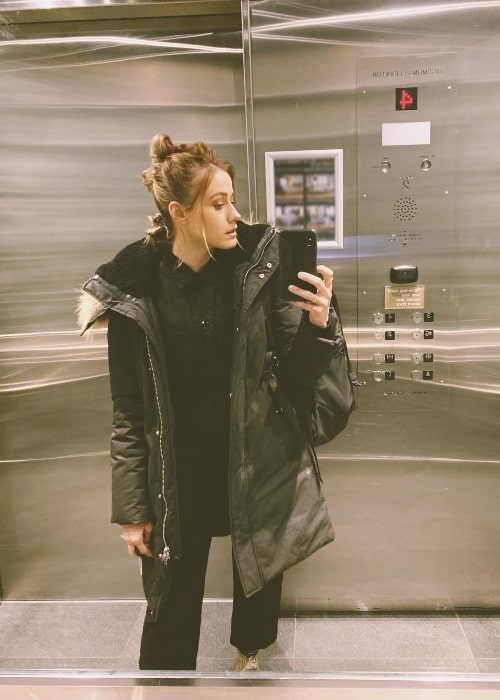 Olivia Taylor Dudley as seen while clicking a mirror selfie in Vancouver, British Columbia, Canada in February 2019