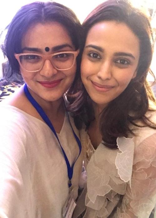 Parvathy Thiruvothu as seen in a selfie taken with her close friend actress Swara Bhaskar in April 2018