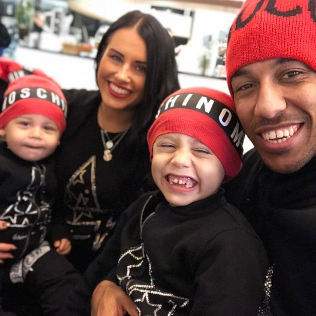 Pierre-Emerick Aubameyang with his family as seen in March 2018
