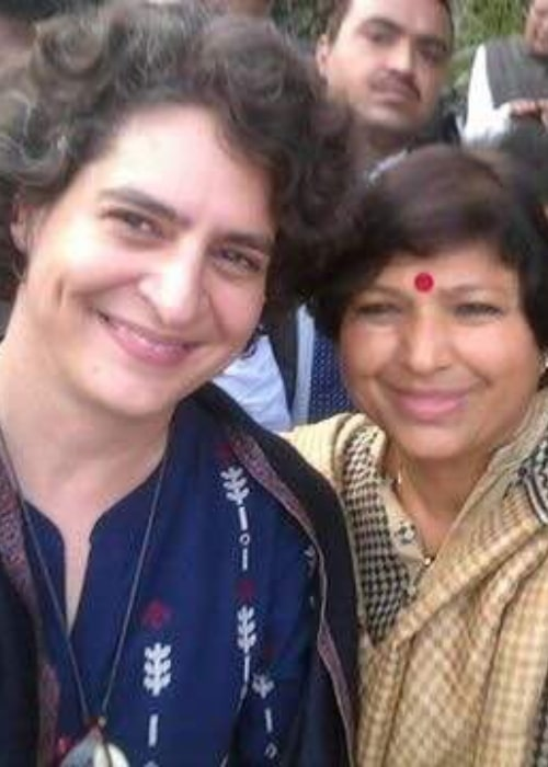 Priyanka Gandhi as seen in a picture taken with MLA Anita Yadav on February 2, 2017