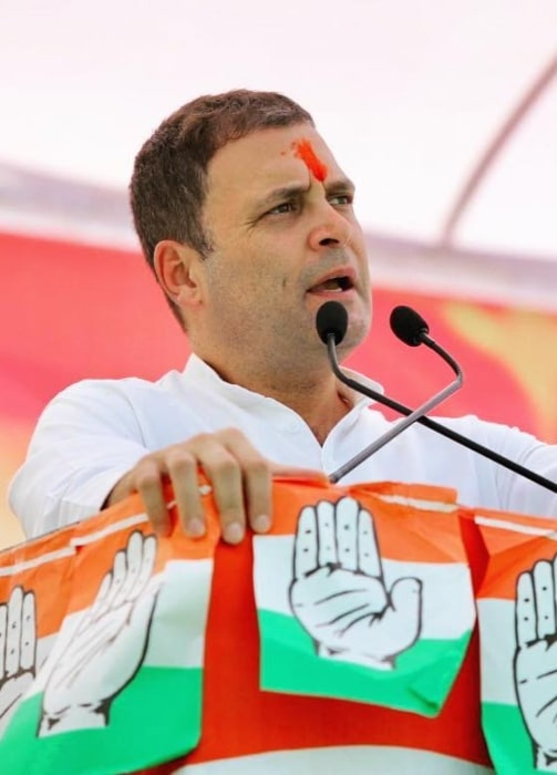 Rahul Gandhi as seen in a picture taken while he delivered his speech in Madhya Pradesh in October 2018