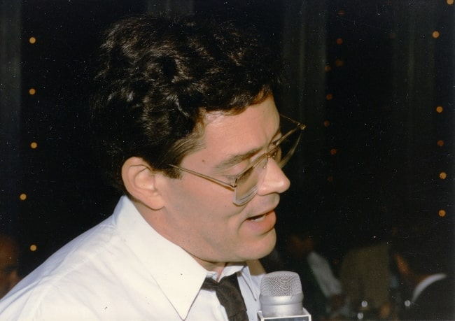 Raul Julia as seen during an interview on opening night 1984 at cast party at Circle in the Square 1984 Noel Coward's 'Design for Living'
