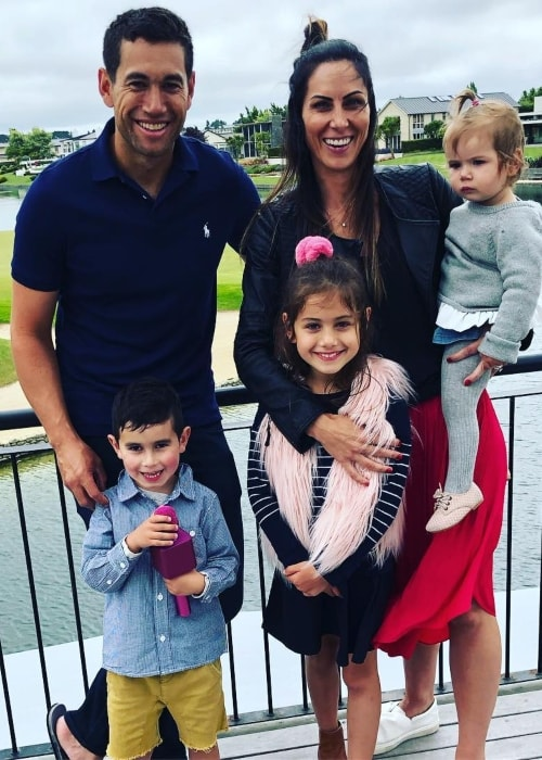 Ross Taylor as seen in a picture with his wife Victoria and kids Mackenzie, Adelaide, and Jonty at Clearwater Resort in December 2018