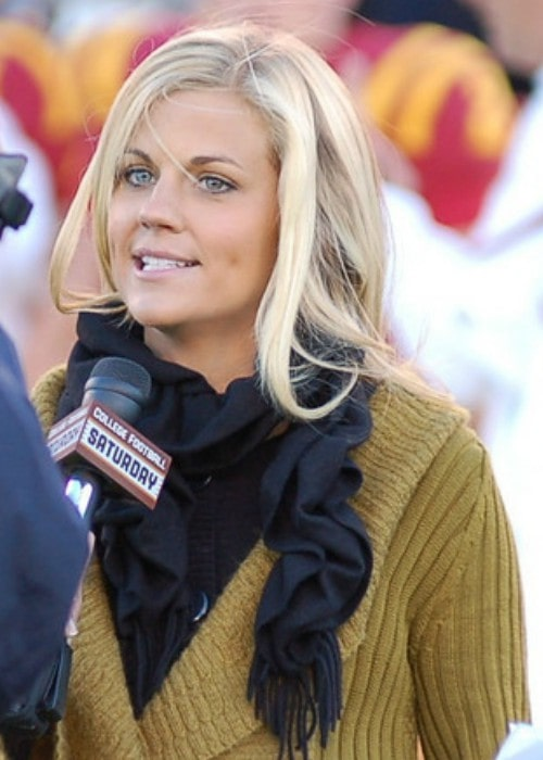 Samantha Ponder delivering a report for the Fox College Sports network in October 2010
