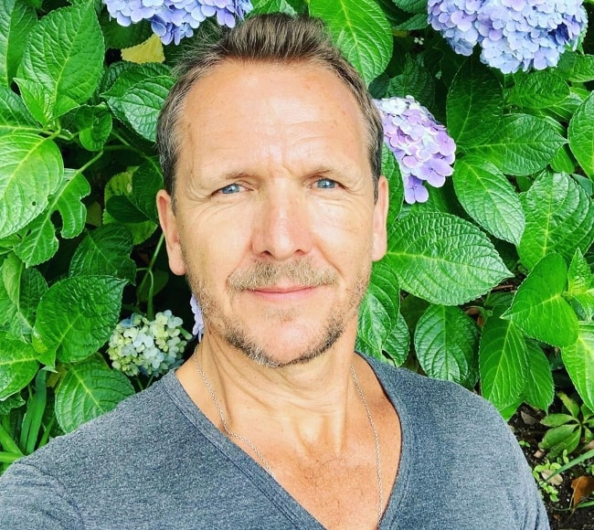 Sebastian Roché as seen while taking a selfie in Venice, Los Angeles, California, United States in June 2019