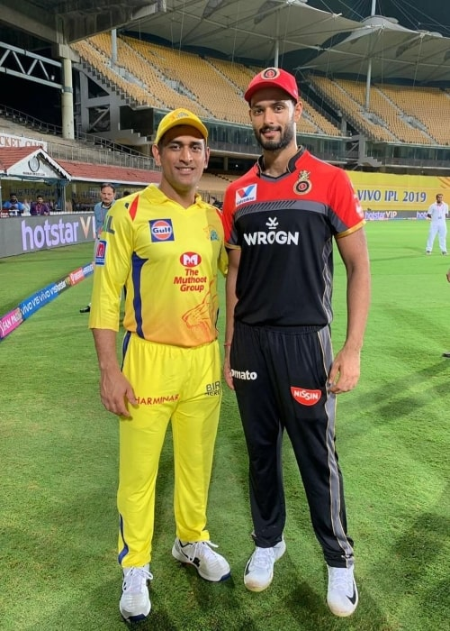 Shivam Dube as seen in a picture with former cricket captain Mahendra Singh Dhoni in March 2019