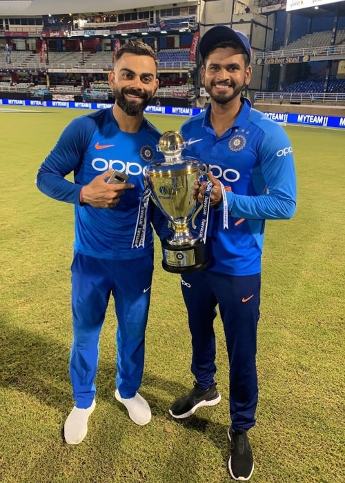 Shreyas Iyer as seen in a picture taken with cricketer Virat Kohli at Queen's Park Oval in August 2019