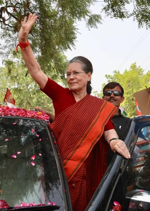 Sonia Gandhi as seen in a picture taken in Raebareli during a roadshow in April 2019
