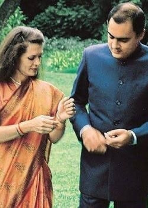 Sonia Gandhi as seen in a picture with her husband Rajiv Gandhi taken in the past