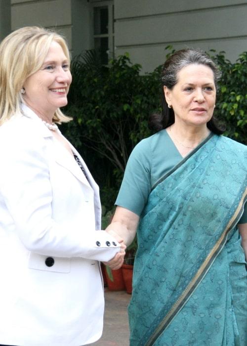 Sonia Gandhi greeting the U.S. Secretary of State Hillary Rodham Clinton in New Delhi on July 19, 2011