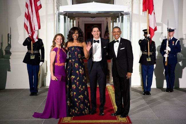 Sophie and Justin Trudeau posing with former US President Barack Obama and First Lady Michelle Obama in 2016