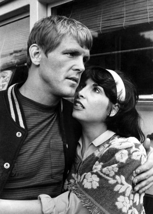 Talia Shire as Teresa Santoro and Nick Nolte as Tom Jordache in a black-and-white still from the television miniseries 'Rich Man, Poor Man' in January 1976