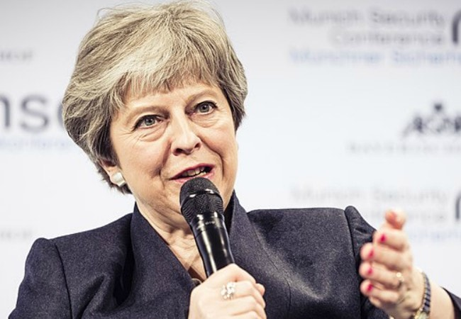 Theresa May during an event in February 2018