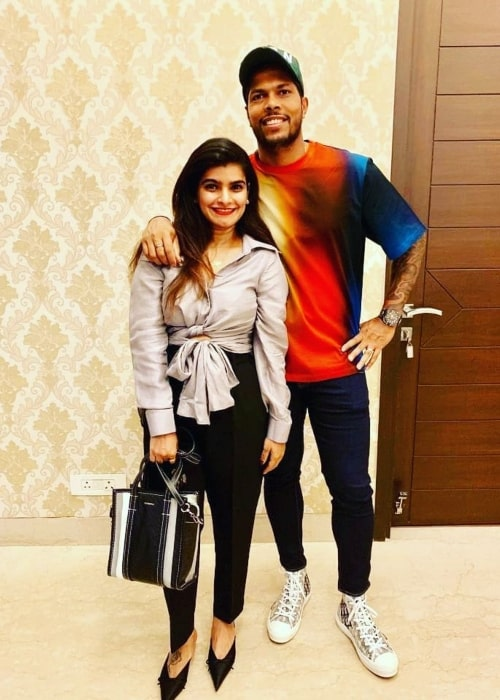 Umesh Yadav as seen in a picture taken with his wife Tanya Wadhwa in October 2019