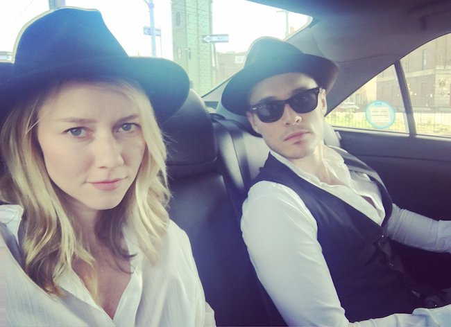 Valorie Curry with Sam Underwood in a car selfie in June 2018