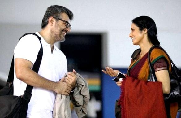Ajith Kumar and actress Sridevi on the sets of the film English Vinglish 2013