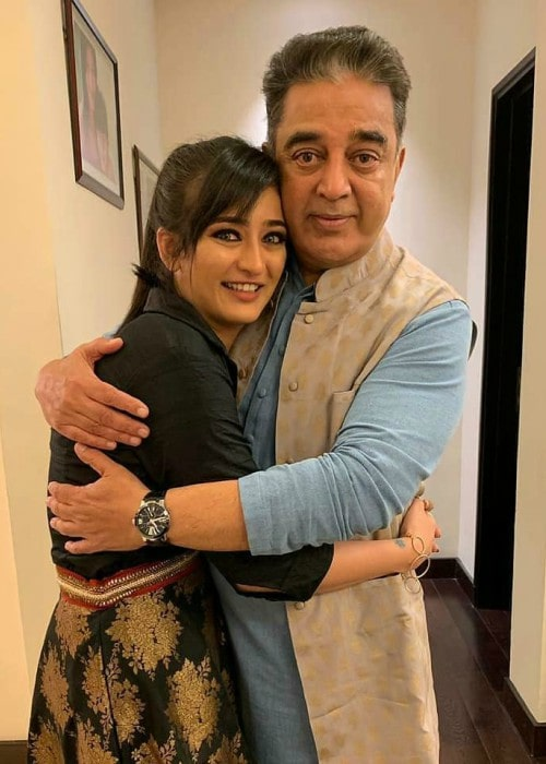 Akshara Haasan and Kamal Haasan as seen in February 2019
