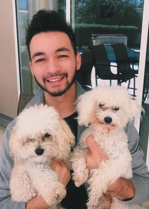 Alex Moy as seen in a picture with his adorable dogs in January 2019