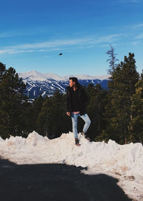 Alex Moy as seen while posing for a picture in Breckenridge, Summit County, Colorado, United States in December 2017