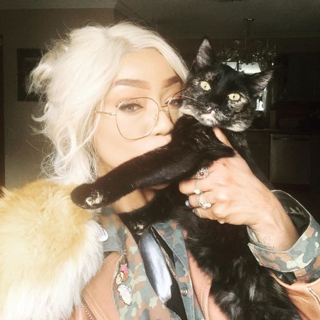 Alicia Fox with her cat as seen in January 2019