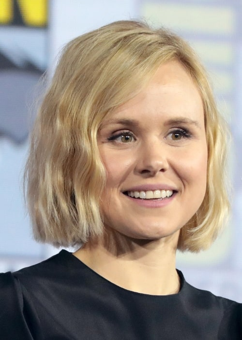 Alison Pill as seen while speaking at the 2019 San Diego Comic-Con International in San Diego, California, United States in July 2019
