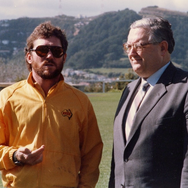 Allan Border as seen in a picture taken with postmaster general Jonathan Hunt at the Victoria University Wellington in 1986