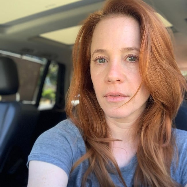 Amy Davidson as seen while taking a no makeup and no filter car selfie in October 2019