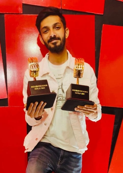 Anirudh Ravichander with his trophies as seen in October 2019