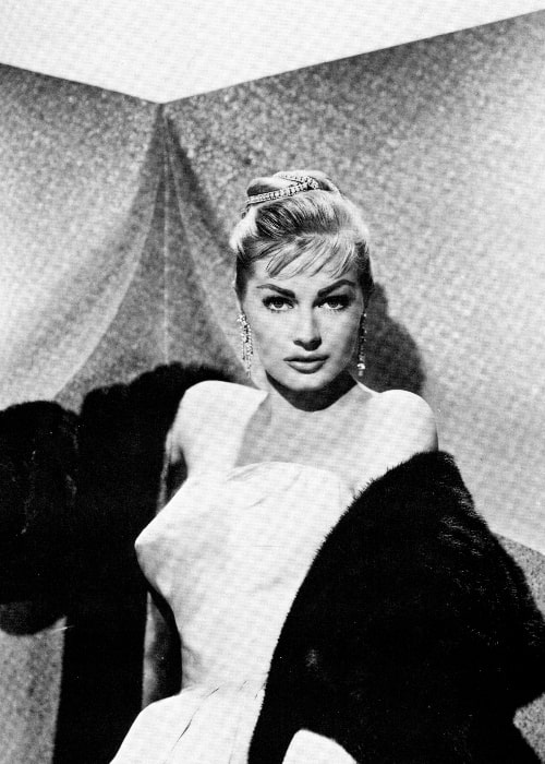 Anita Ekberg as seen in a black-and-white picture from her younger years