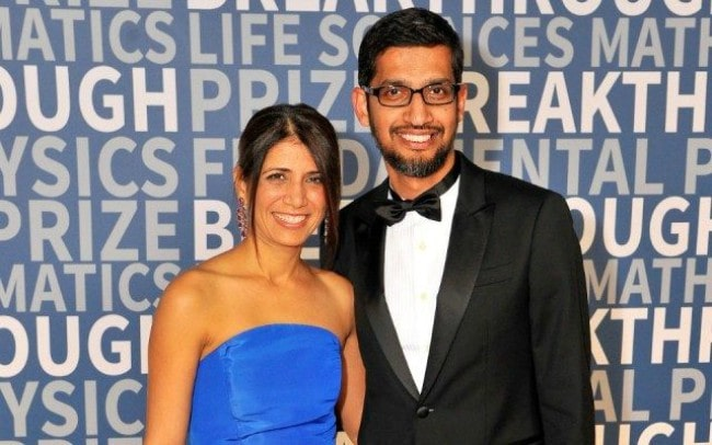 Anjali Pichai and Sundar Pichai during an event