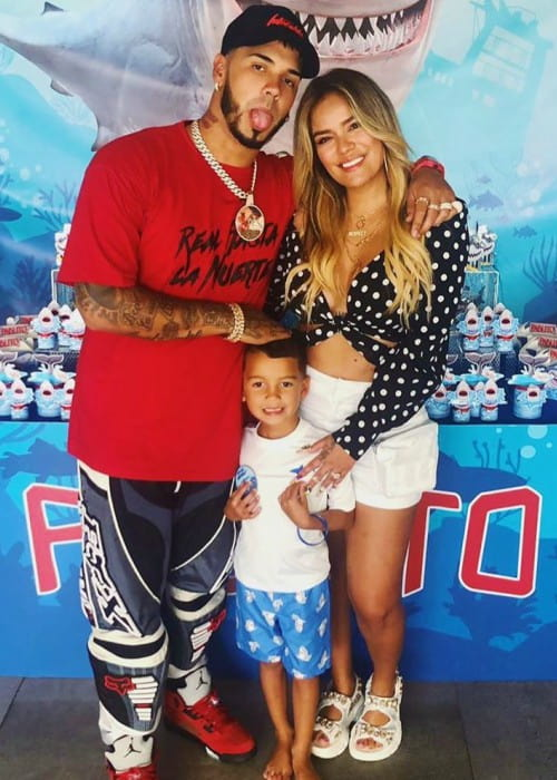 Anuel AA with his family as seen in June 2019