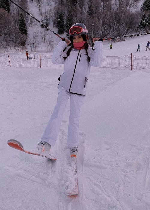 Avary Anderson as seen while enjoying skiing at Snowbasin Resort in Huntsville, Madison County, Alabama, United States in December 2018