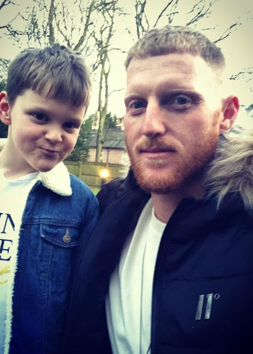 Ben Stokes in a selfie with his son as seen in December 2019