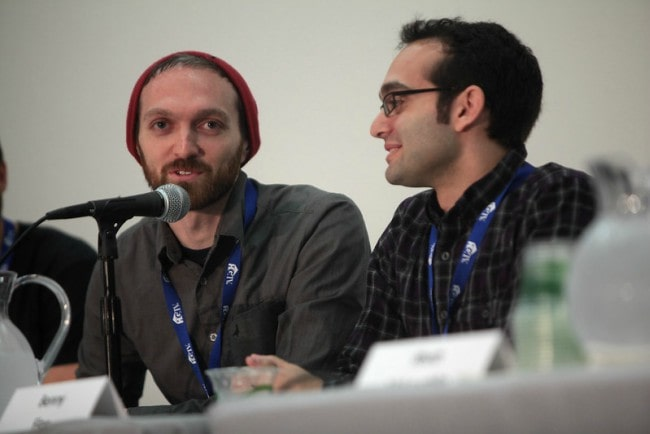 Benny Fine (Right) and Rafi Fine speaking at the 2014 VidCon at the Anaheim Convention Center