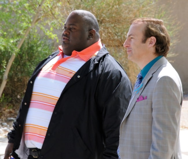 Bob Odenkirk (Right) as seen in a picture alongside Lavell Crawford on the 'Breaking Bad' film set for season 4