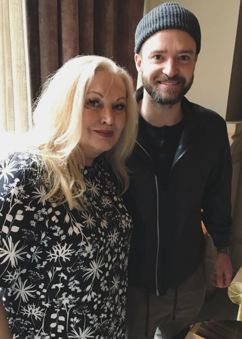Cathy Moriarty as seen while smiling in a picture alongside Justin Timberlake in New York City, New York, United States in 2017