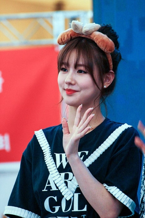 Cho Mi-yeon as seen while waving during an event in June 2018