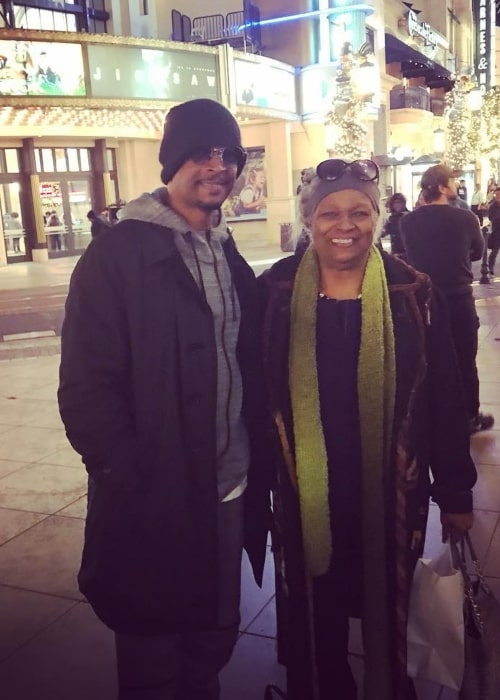 Damon Wayans as seen in a picture with his mother Elvira Alethia taken in front of the Blue Ribbon Sushi Bar & Grill at the Grove, Los Angeles in November 2017