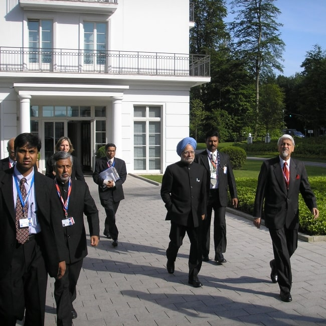 Dr. Manmohan Singh as seen in a picture at the G8 summit 'outreach' programme in Heiligendamm in June 2007