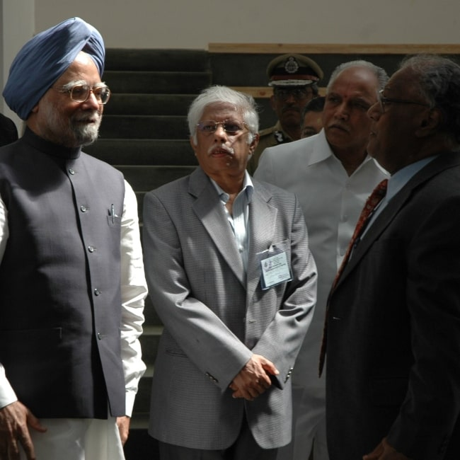 Dr. Manmohan Singh as seen in a picture taken at the JNCASR on December 3, 2008, to inaugurate the ICMS and I-House building