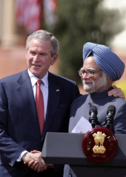 Dr. Manmohan Singh as seen in a picture with former United States President George W. Bush at a joint conference at Hyderabad House