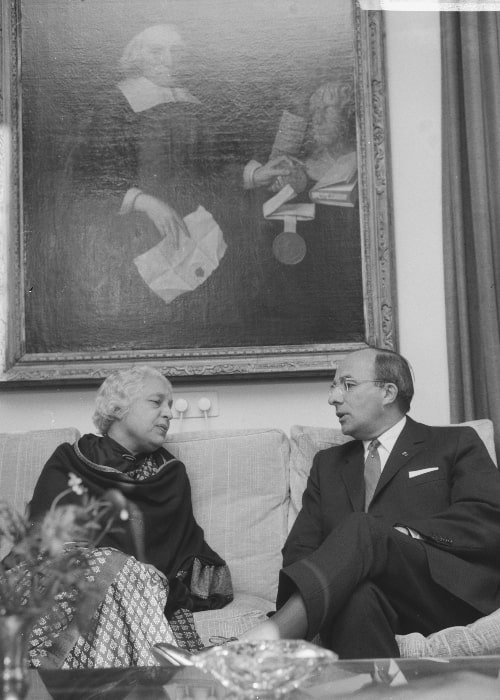 Dutch Politician Jo Cals and Vijaya Lakshmi Pandit in a picture that was taken on November 12, 1965 at The Hague, Netherlands
