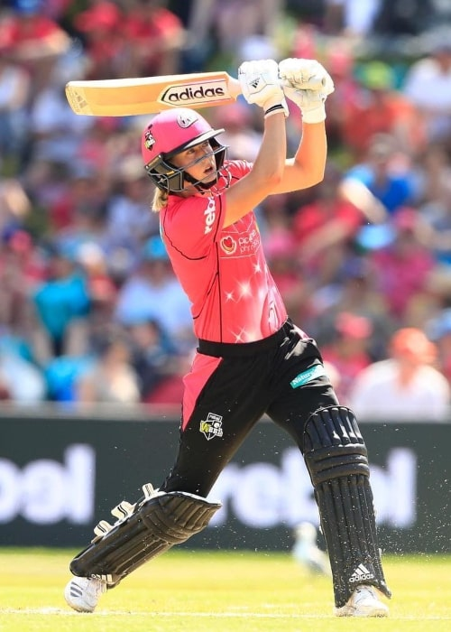 Ellyse Perry as seen in a picture taken during a match while she played for the Sydney Sixers at the Big Bash League in January 2019