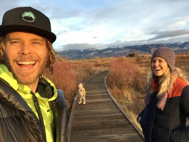 Eric Christian Olsen and Sarah Wright as seen in December 2017