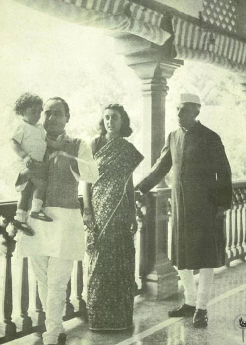 Feroze Gandhi as seen in a picture with Rajiv Gandhi, Indira Gandhi, and Jawaharlal Nehru at the Anand Bhawan after Jawaharlal Nehru's release from detention in June 1945