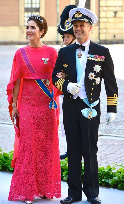 Frederik and his wife Mary, Crown Princess of Denmark attending the wedding of Princess Madeleine and Christopher O'Neill in Stockholm in June 2013