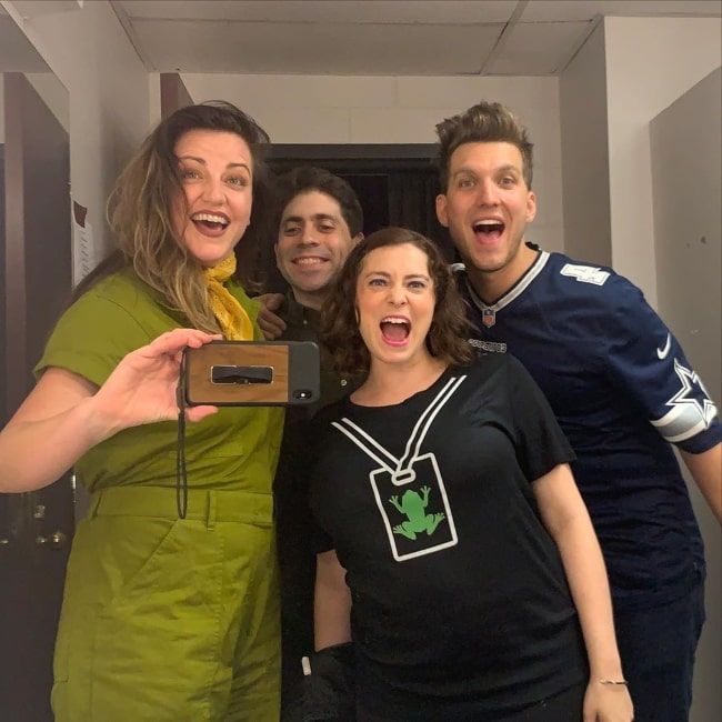 From Left to Right - Kathryn Burns, Danny Jolles, Rachel Bloom, and Scott Michael Foster as seen while posing for a selfie in October 2019