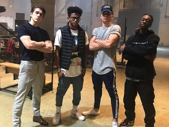 From Left to Right - Myles Erlick, Noah Zulfikar, Liam Mackie, and Isaiah Peck as seen while posing for a picture in September 2019